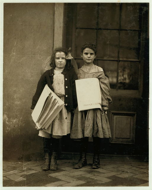 Two News Girls, same as #1539. Edward F. Brown, Investigator.  Location: Wilmington, Delaware / Photo by Lewis W. Hine.