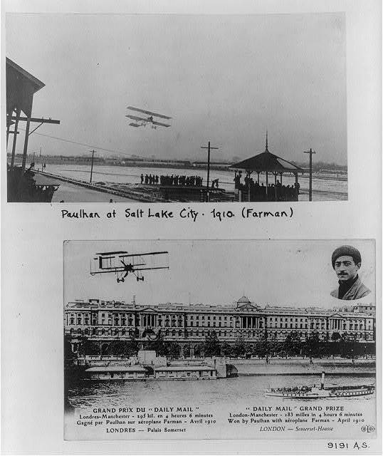 [Two scenes of Louis Paulhan flying Farman biplane - over Salt lake City fairgrounds, 1910; over Somerset House and Thames River, London, 1910 (in Daily Mail contest to fly between London and Manchester, April 1910)]