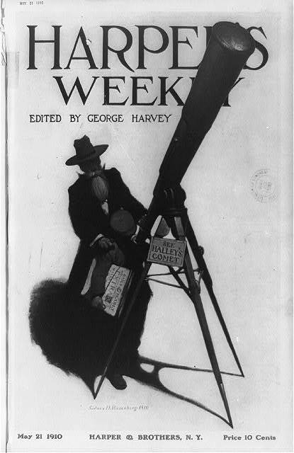 [Using a street telescope, a newsboy glimpses Halley's Comet, which is in the headlines of the papers he is selling]