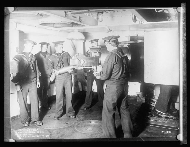 U.S.S. Florida, Broadside crew at quarters, Navy Yard, NY, Nov. 10, 1911