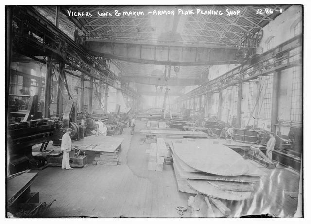 Vickers sons and Maxim -- Armor plate planing shop