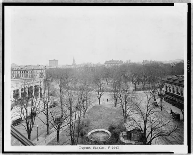 [View of Dupont Circle, Washington, D.C., looking east, seen from an elevated angle]