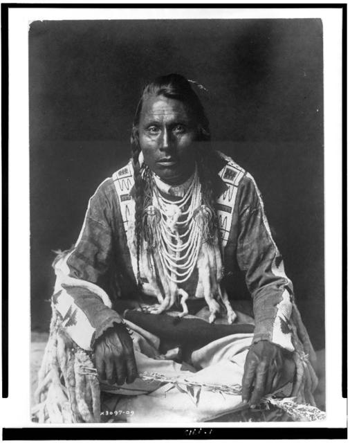 [Wades in Water, Piegan Indian, full-length portrait, seated on floor, facing front, with braids, beaded buckskin shirt and leggings, beads with ermine tail trim]