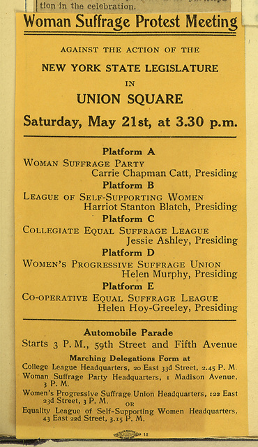 Woman Suffrage Protest Meeting Notice