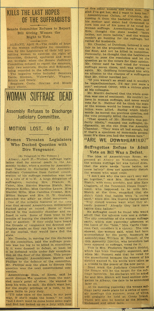 Women Suffrage Dead in both New York Assembly and Senate