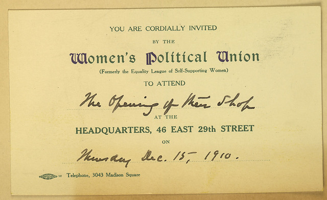 Women's Political Union invitation to shop opening