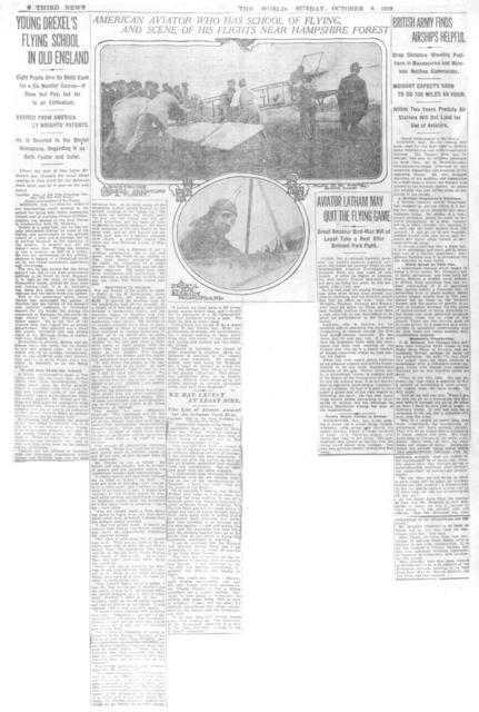 Young Drexel's Flying School in Old England; Aviator Latham May Quit the Flying Game; and British Army Finds Airships Helpful [The World, 9 October 1910]