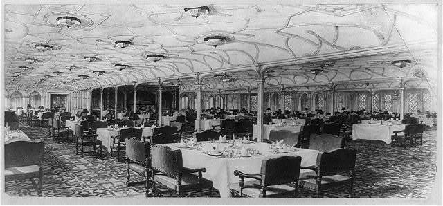 1st. class, grand dining saloon, seates [sic] 500--OLYMPIC STEAMSHIP