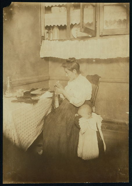 3:30 PM Mrs. Rosy Capello, 311 E. 111th St., top floor rear. Makes 50 cents to $1.00 a week on willow plumes. Husband works irregularly as tailor.  Location: New York, New York (State)