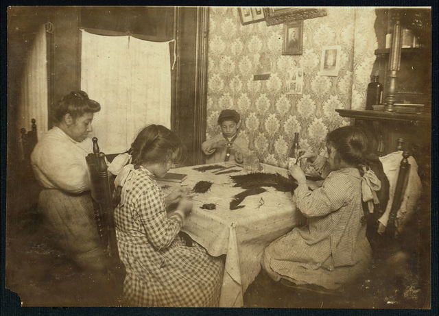 4:00 P.M. Mrs. Frances Rosep, 309 E. 110th St., New York., ground floor; and three children who work on willow plumes. Tony is 7 years old, Annie, 10. They are learning. Ruby, 12 years old, has worked some months. All make $2.50 a week. Father is a butcher.  Location: New York, New York (State)