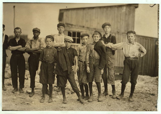 A few of the young boys working on the night shift at the Alexandria (Va.) Glass Factory. See also photos and labels 2260 to 2271.  Location: Alexandria, Virginia.
