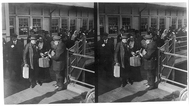 A representative of the New York Bible Society distributing bibles and religious literature to the emigrants at Ellis Island, New York City