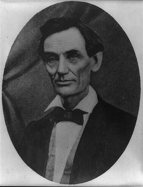 1864 facing right. showing Abraham Lincoln as head-and-shoulders portrait 1860 Photo Lincoln Photograph of reproduction of engraving based on photograph by Anthony Berger taken February 9