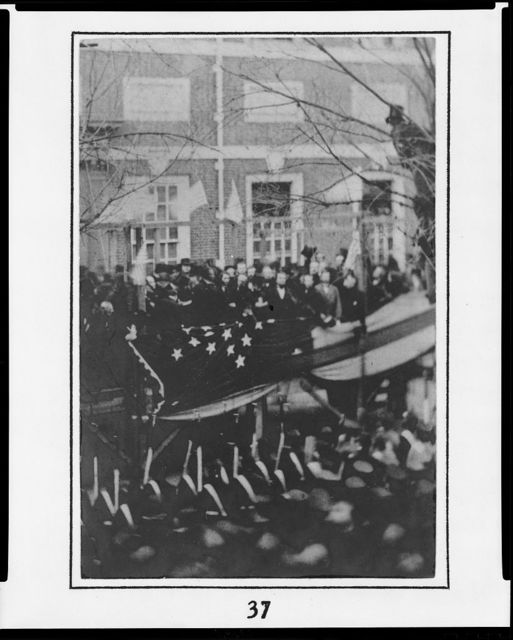 [Abraham Lincoln raising a flag at Independence Hall, Philadelphia, in honor of the admission of Kansas to the Union on Washington's Birthday, February 22, 1861]