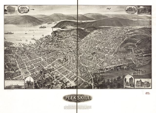 Aero view of Peekskill, New York 1911.