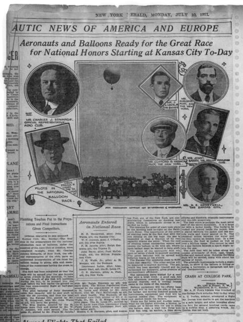 Aeronautics and Balloons Ready for the Great Race for National Honors Starting at Kansas City To-Day [New York Herald, 10 July 1911]