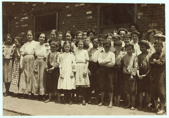 All of these are workers in the Stearns Silk Factory, Petersburg, Va. Not all of the youngsters would get into the photo. I went through the factory during working hours and saw many others like these. A neighbor's testimony corroborated the foregoing. Noon hour.  Location: Petersburg, Virginia.