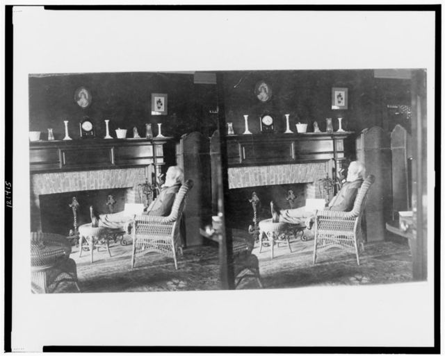 Andrew Carnegie in his golf cottage near St. Andrew's Golf Links, Westchester Co., N.Y.