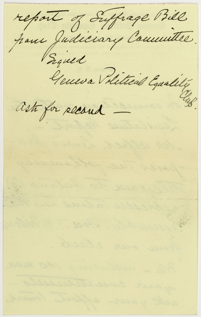 Anne Fitzhugh Miller's Notes concerning telegrams and their senders to Joint Judiciary committee