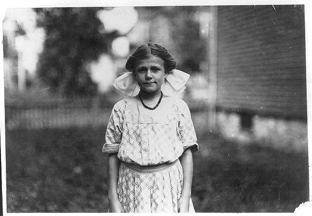 [Antoinette Pothier, been doffing six months at Ayer mill. Has a walk of nearly 30 minutes each way to work morning and night. Leaves home at 6 A.M. and gets back 6:30 P.M.]  Location: Lawrence, Massachusetts.