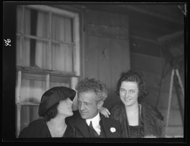Arnold Genthe with two women friends on the porch of his bungalow in Long Beach, New York