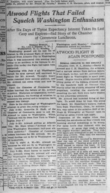 Atwood Flights that Failed Squelch Washington Enthusiasm [New York Herald, 10 July 1911]