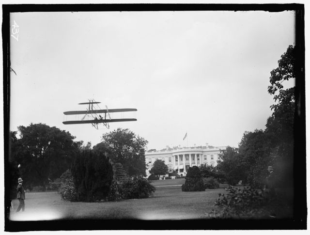 ATWOOD, HARRY. AVIATOR. RISING FROM WHITE HOUSE LAWN IN WRIGHT TYPE B PLANE, JULY, 1911