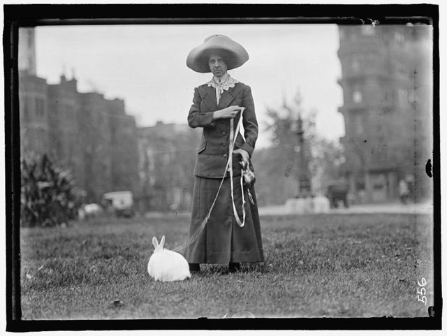 BAND, MRS. J.R. WITH PET RABBIT