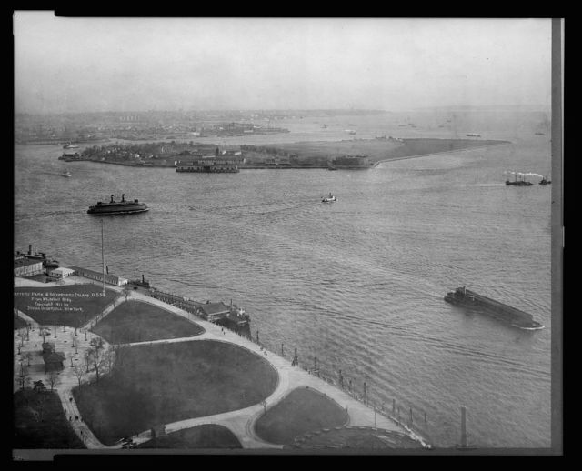 Battery Park & Governers [sic] Island, from Whitehall Bldg.