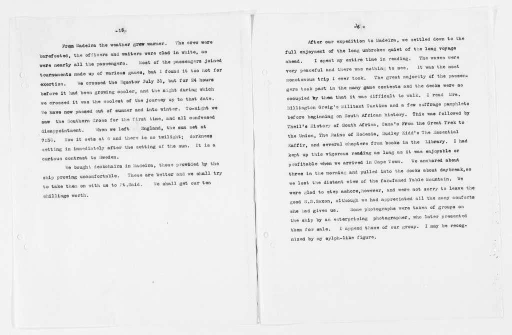 Carrie Chapman Catt Papers: Diaries, 1911-1923; Duplicates; 1911, Apr. 8-Aug. 14