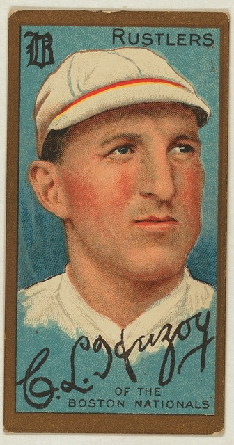 [Charles L. Herzog, Boston Rustlers, baseball card portrait]