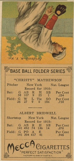 [Christy Mathewson/Albert Bridwell, New York Giants, baseball card portrait]
