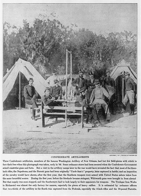 [Confederate artillerists, members of the Washington Artillery Regiment of New Orleans, posed in front of tents. Early 1862]