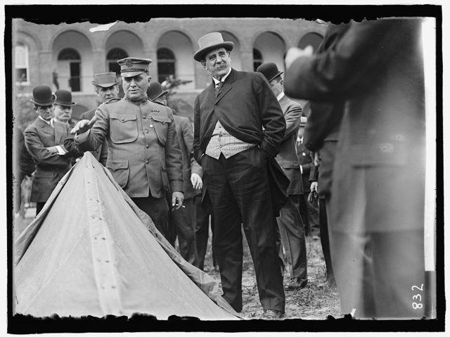 DICKINSON, JACOB M. SECRETARY OF WAR. INSPECTING ARMY EQUIPMENT