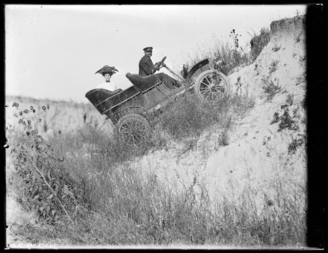 Dr. F. Kerby and his wife motoring near Kearney, Nebraska.