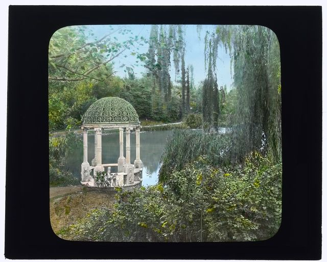 """[""""Drumthwacket,"""" Moses Taylor Pyne house, 354 Stockton Road, Princeton, New Jersey. Temple at upper pond]"""