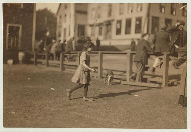 Eight year old Syrian girl, Pheobe [i.e. Phoebe] Thomas, going to work at 6 a.m., August 14, with great butcher knife, to cut sardines in Seacoast Canning Co. Factory #4, Eastport Me. Said she was a cutter, and I saw her working later. (See photos of her accident, #2444, #2445, #2449.)  Location: Eastport, Maine.