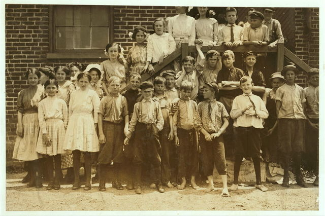 Every one of these youngsters went into work when the whistle blew, noon June 15, 1911, in the Chesapeake Knitting Mills, Berkley, Va. See also photos and labels 2245 to 2249. Following are some of their names; (youngest refused to give names) - - Otto, Lowe, 78 Seaboard Ave. Finishing Room. D.M. Deschields, 25 Phillip St., So. Norfolk, Winding Room. Oscar Weston, 1320 Berkley Ave., Totes work. Lonnie Wommack, Hawthorn Ave. So. Norfolk, Winding Room. Jack Harrell, 66 Perry St., So. Norfolk, Finishing Room. Waverley Roseberry, 250 St. James St., So. Norfolk, Winding Room, Charlie McHorney, 4 Poindexter St., So. Norfolk, Winding Room.  Location: Berkley, Virginia.