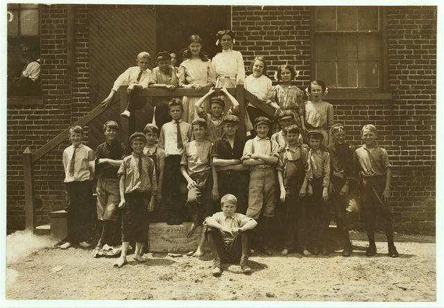 Every one of these youngsters went into work when the whistle blew, noon June 15, 1911, in the Chesapeake Knitting Mills, Berkley, Va. See also photos and labels 2245 to 2249. Following are some of their names; (youngest refused to give names): Otto, Lowe, 78 Seaboard Ave. Finishing Room. D.M. Deschields, 25 Phillip St. So, Norfolk, Winding Room. Oscar Weston, 1320 Berkley Ave. Totes work. Lonnie Wommack, Hawthorn Ave., So. Norfolk, Winding Room. Jack Harrell, 66 Perry St., So. Norfolk, Finishing Room. Waverley Roseberry, 250 St. James St., So. Norfolk, Winding Room. Charlie McHorney, 4 Poindexter St., So. Norfolk, Winding Room.  Location: Berkley, Virginia.