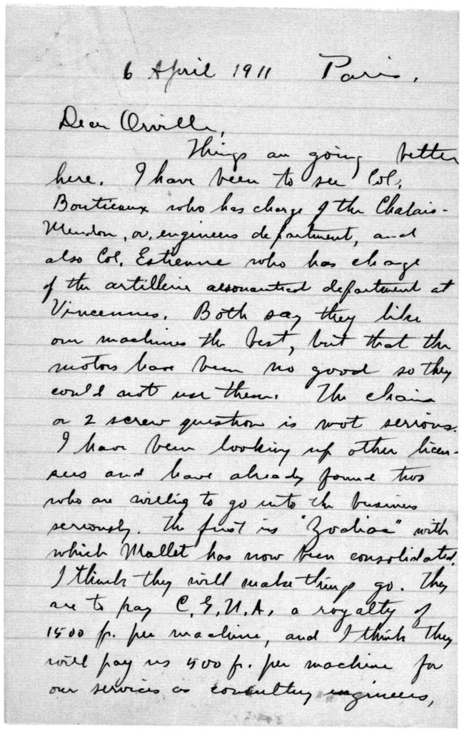 Family Papers:  Correspondence--Wright, Wilbur, March-June 1911