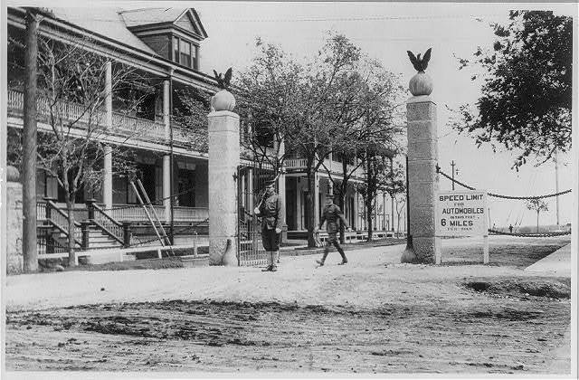 Fort Sam Houston, Tex., 1911-1912: entrance to Fort Sam Houston; 6 mile per hour speed limit posted