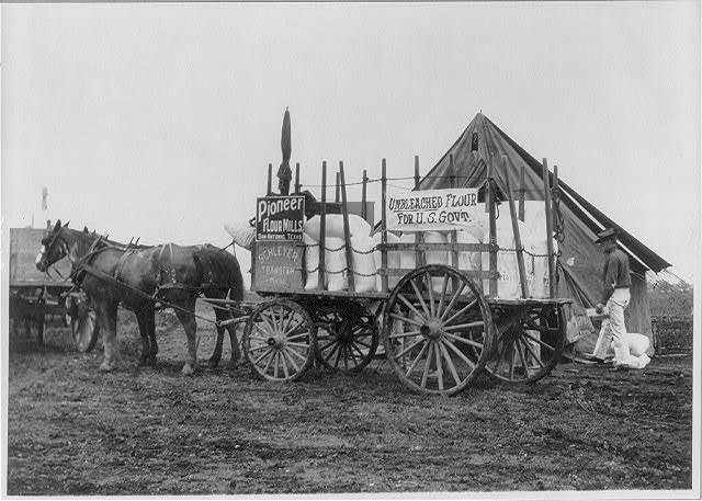 Fort Sam Houston, Tex., 1911-1912: horse-drawn commissary wagon of unbleached flour