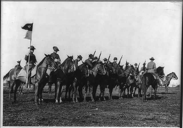 Fort Sam Houston, Tex., 1911-1912: squad of cavalry, Co. M, 11th Regiment; lining up