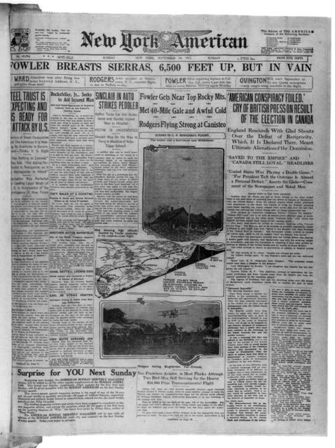 Fowler Breasts Sierras, 6,500 Feet Up, But in Vain, [New York American, 24 September 1911]