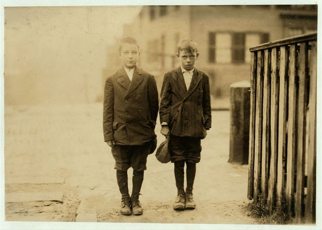 Frank Jarsoe [i.e., Jarose?], (left end), 7 Fayette St. Mellins [i.e., Mellens?] Court, said 11 years old. Pin boy in Les Miserables Alleys, made $3.75 last week. Joe Weaver, (right end), 10 Mellens Court, said 11 years old also a pin boy, made $2.13 last week. These boys work until midnight every week night.  Location: Lowell, Massachusetts.
