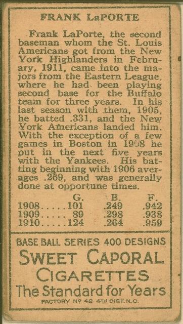 [Frank LaPorte, St. Louis Browns, baseball card portrait]