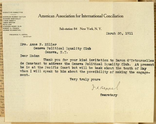 F[rederick] P. Keppel, Secretary, American Association for International Conciliation, to Anne Fitzhugh Miller