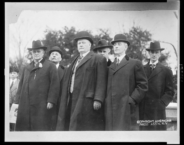 [Front row (l to r) James Beauchamp and members of the House of Representatives Champ Clark - Missouri, Henry D. Clayton - Alabama, Wm. P. Borland - Missouri; Back row (l to r) Dorsey W. Shackelford - Missouri, Henry T. Rainey? - Illinois, Finis J. Garrett - Tennessee]
