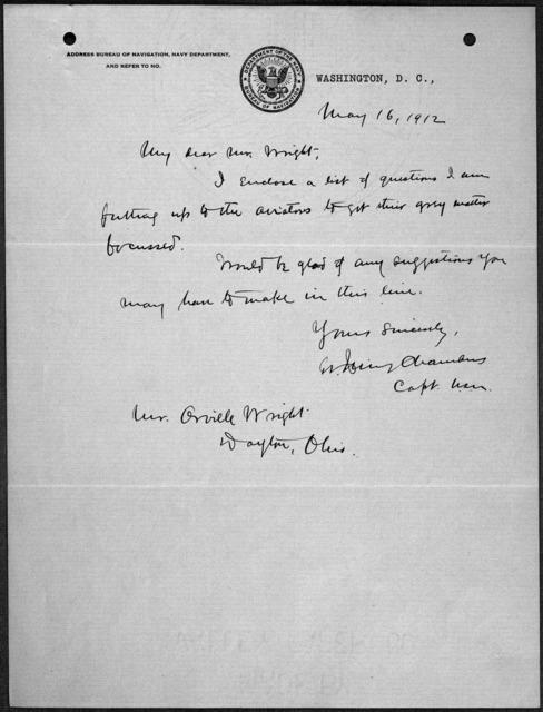 General Correspondence:  Chambers, Washington Irving, 1911-1913, 1930