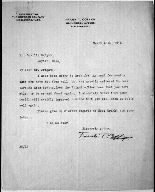 General Correspondence:  Coffyn, Frank T., 1911-1916, 1928-1932, 1943-1947